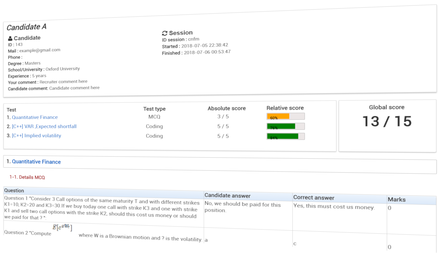 Compare and filter based on technical assessment result: